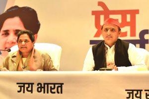 Lucknow: BSP supremo Mayawati and  Samajwadi Party chief Akhilesh Yadav  during a joint press conference in Lucknow on  Saturday, Jan 12, 2019. (PTI Photo/Nand Kumar)  (PTI1_12_2019_000048B)