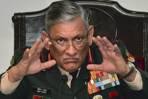 New Delhi: Army Chief Bipin Rawat addresses a press conference ahead of Army Day, in New Delhi, Thursday, Jan. 10, 2019. (PTI Photo/Manvender Vashist) (PTI1_10_2019_000077B)