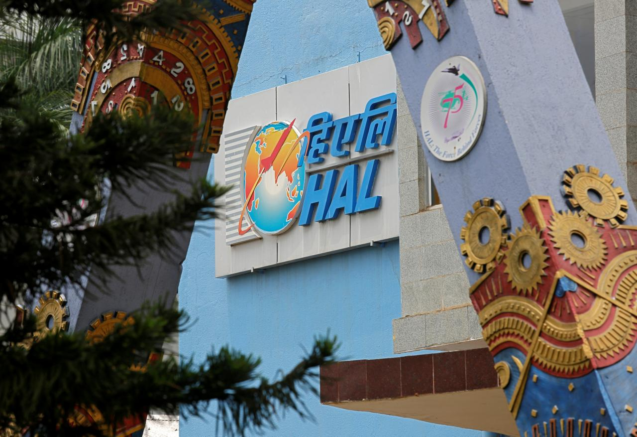 The logo of Hindustan Aeronautics Limited (HAL) is seen on the facade of the company's heritage centre in Bengaluru, India, March 28, 2018. REUTERS/Abhishek N. Chinnappa