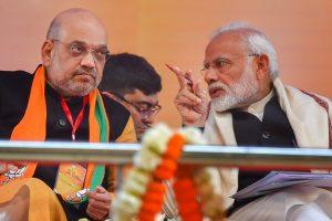 New Delhi: Prime Minister Narendra Modi and BJP President Amit Shah during the two-day BJP National Convention at Ramlila Ground , in New Delhi on Saturday,Jan 12,2018.( PTI Photo/ Kamal Kishore)(PTI1_12_2019_000028B)