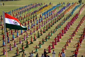 Jaipur: Students perform during the 70th Republic Day celebrations at Sawai Mansingh Stadium in Jaipur, Saturday, Jan 26, 2019. (PTI Photo)(PTI1_26_2019_000301B)
