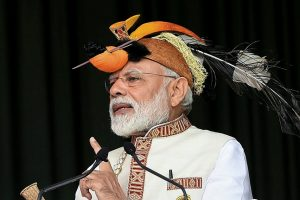 Itanagar: Prime Minister Narendra Modi addresses the gathering at the inauguration of several development projects, in Itanagar, Saturday, Feb 9, 2019. (PIB Photo via PTI) (PTI2_9_2019_000034B)