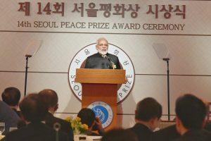 The Prime Minister, Shri Narendra Modi addressing after receiving the Seoul Peace Prize, in Seoul, South Korea on February 22, 2019.