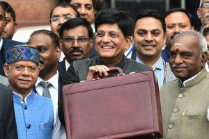 New Delhi: Finance Minister Piyush Goyal with MoS Finance ministers Shiv Pratap Shukla and  P Radhakrishnan leaves the North Block to present the interim Budget 2019-20 at Parliament,  in New Delhi, Friday, 1 Feb, 2019. (PTI Photo/ Arun Sharma)(PTI2_1_2019_000011B)