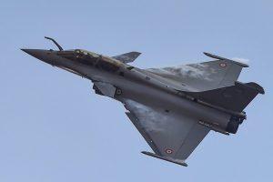 Bengaluru: A Rafale fighter aircraft rehearses for fly-past ahead of 12th edition of AERO India 2019 at Yelahanka airbase in Bengaluru, Friday, Feb 15, 2019. (PTI Photo/Shailendra Bhojak) (PTI2_15_2019_000136B)
