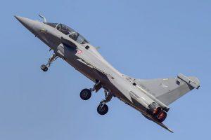 Bengaluru: French aircraft Rafale manoeuvres during the inauguration of the 12th edition of AERO India 2019 air show at Yelahanka airbase in Bengaluru, Wednesday, Feb 20, 2019. (PTI Photo/Shailendra Bhojak) (PTI2_20_2019_000069B)