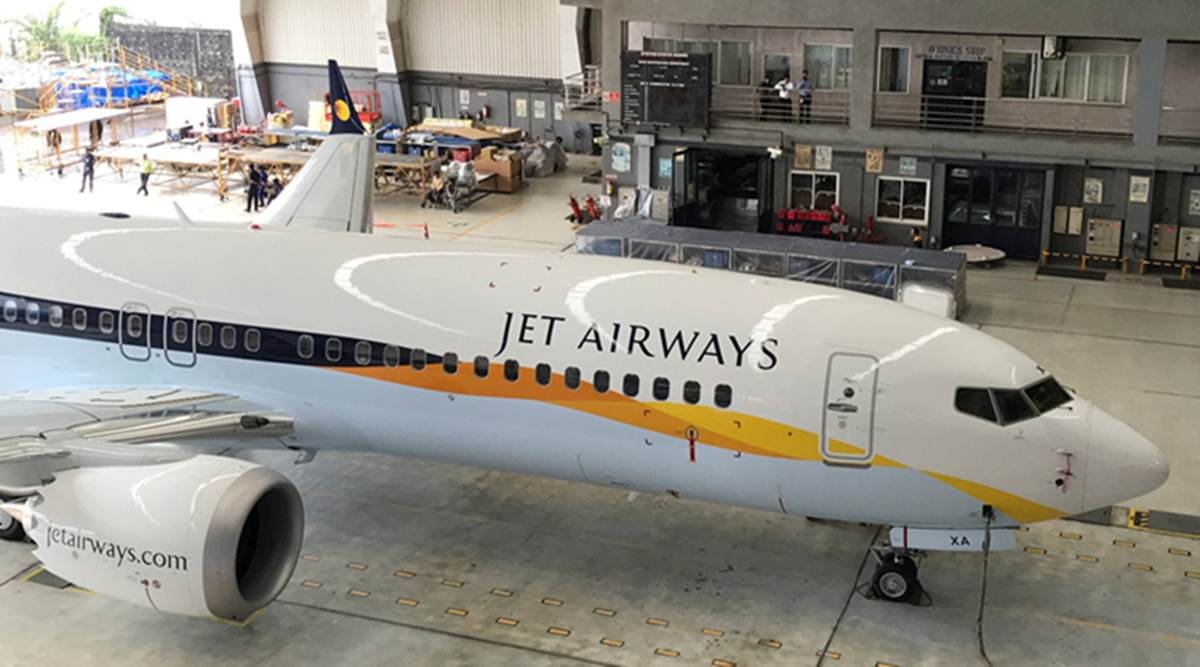 A Jet Airways Boeing 737 MAX 8 aircarft is seen parked inside a hanger during its induction ceremony at the Chhatrapati Shivaji International airport in Mumbai, India, June 28, 2018. Picture taken June 28, 2018. REUTERS/Abhirup Roy