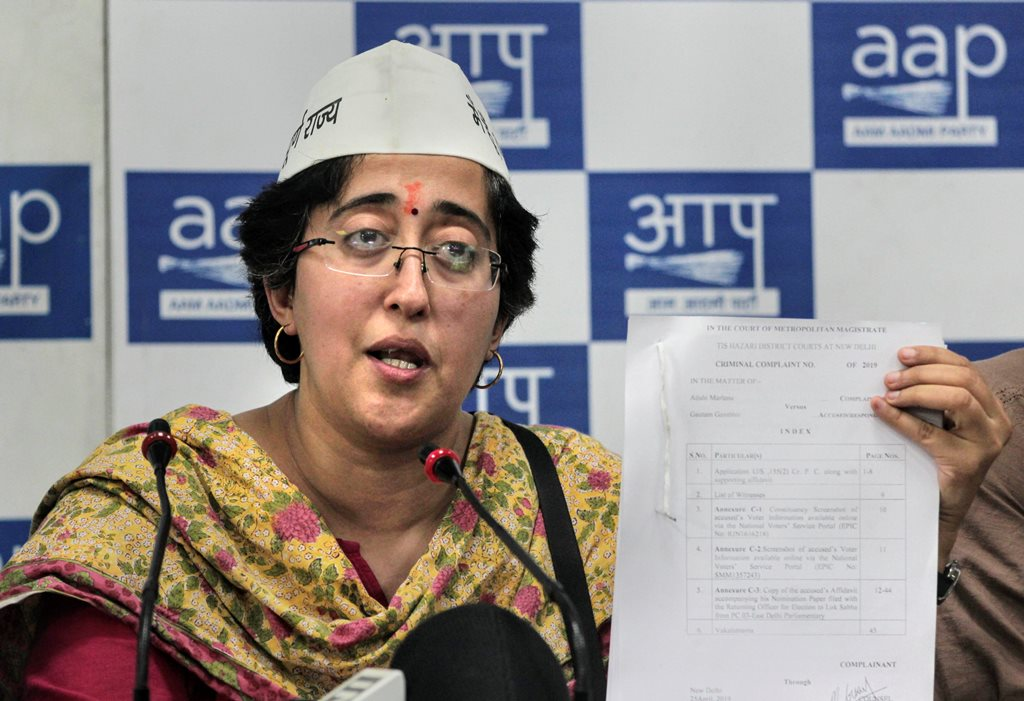 New Delhi: Aam Aadmi Party's (AAP) East Delhi candidate Atishi addresses a press conference, at party office in New Delhi, Friday, April 26, 2019. (PTI Photo) (PTI4_26_2019_000121B)