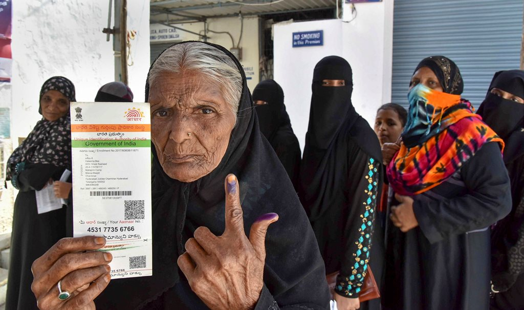 Hyderabad: An elderly woman shows her finger marked with indelible ink after casting vote during the first phase of the general elections, at a polling station in Hyderabad, Thursday, April 11, 2019. (PTI Photo)(PTI4_11_2019_000076B)