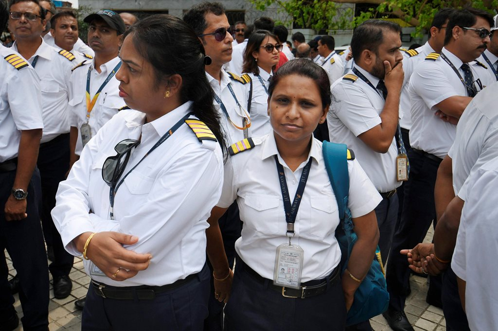 Mumbai: Jet Airways pilots and engineers assemble outside the Jet headquarters to express solidarity with the management and to request lenders to release the funds, in Mumbai, Monday April 15, 2019.The airline is operating just 6-7 planes, with almost its entire fleet being grounded due to non-payment of rentals to lessors amid severe paucity of cash. (PTI Photo/Shirish Shete)(PTI4_15_2019_000048B)