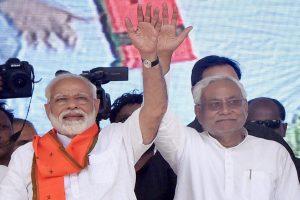 Forbesganj: Prime Minister Narendra Modi and Bihar Chief Minister and Janta Dal United President Nitish Kumar during an election rally at Araria lok sabha constituency, in Forbesganj, Saturday, April 20, 2019. (PTI Photo) (PTI4_20_2019_000016B)