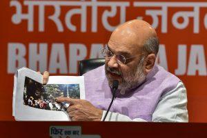 कोलकाता में हुए रोडशो के दौरान हुई हिंसा के संबंध में बुधवार को भाजपा अध्यक्ष अमित शाह ने नई दिल्ली स्थित भाजपा मुख्यालय पर प्रेस कॉन्फ्रेंस की. (फोटो: पीटीआई)