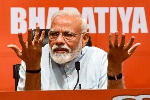 New Delhi: Prime Minister Narendra Modi during a press conference at the party headquarter in New Delhi, Friday, May 17, 2019. (PTI Photo/Manvender Vashist)