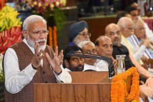 New Delhi: Prime Minister Narendra Modi address following a meeting with President Ramnath Kovind at Rastrapati Bhawan in New Delhi, Saturday, May 25, 2019. (PTI Photo/Atul Yadav)(PTI5_25_2019_000248B)