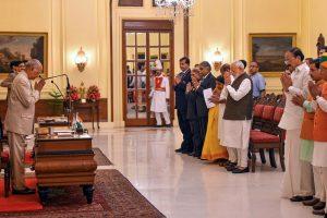 New Delhi: President Ram Nath Kovind is greeted by the dignitaries during a swearing-in ceremony of BJP MP Virendra Kumar as protem Speaker of the 17th Lok Sabha, at Rashtrapati Bhawan, in New Delhi, Monday, June 17, 2019. (PTI Photo/Kamal Kishore) (PTI6_17_2019_000029B)