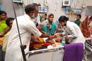 Muzaffarpur: Children showing symptoms of Acute Encephalitis Syndrome (AES) undergoing treatment at Sri Krishna Medical College and Hospital (SKMCH), in Muzaffarpur, Monday, June 17, 2019. (PTI Photo)(PTI6_17_2019_000049B)
