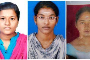 नीट का रिजल्ट आने के बाद आत्महत्या करने वालीं तमिलनाडु की एम. मोनिशा, एस. रिधुश्री और एन. वैशिया (बाएं से दाएं). (फोटो साभार: ट्विटर)