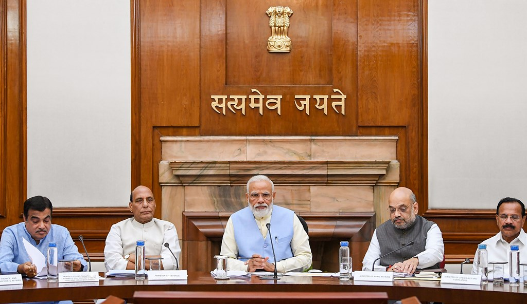 New Delhi: Prime Minister Narendra Modi with Union Ministers Nitin Gadkari, Rajnath Singh, Amit Shah and others during the first cabinet meeting, at the Prime Minister's Office, in South Block, New Delhi, May 31, 2019. (PTI Photo)(PTI5_31_2019_000248B)