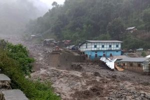 West Kameng: A view of the village after incessant rains triggered landslides and flash floods at Kaspi Nala near Nag-Mandir Tenga in West Kameng district of Arunachal Pradesh, Tuesday, July 9, 2019. (PTI Photo) (PTI7_9_2019_000154B)