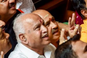 Bengaluru: BJP State President BS Yeddyurappa with his party MLAs show victory sign after HD Kumaraswamy lost the vote of confidence at Vidhana Soudha, in Bengaluru, Tuesday, July 23, 2019. Kumaraswamy lost trust vote 99-105. (PTI Photo/Shailendra Bhojak)(PTI7_23_2019_000223B)
