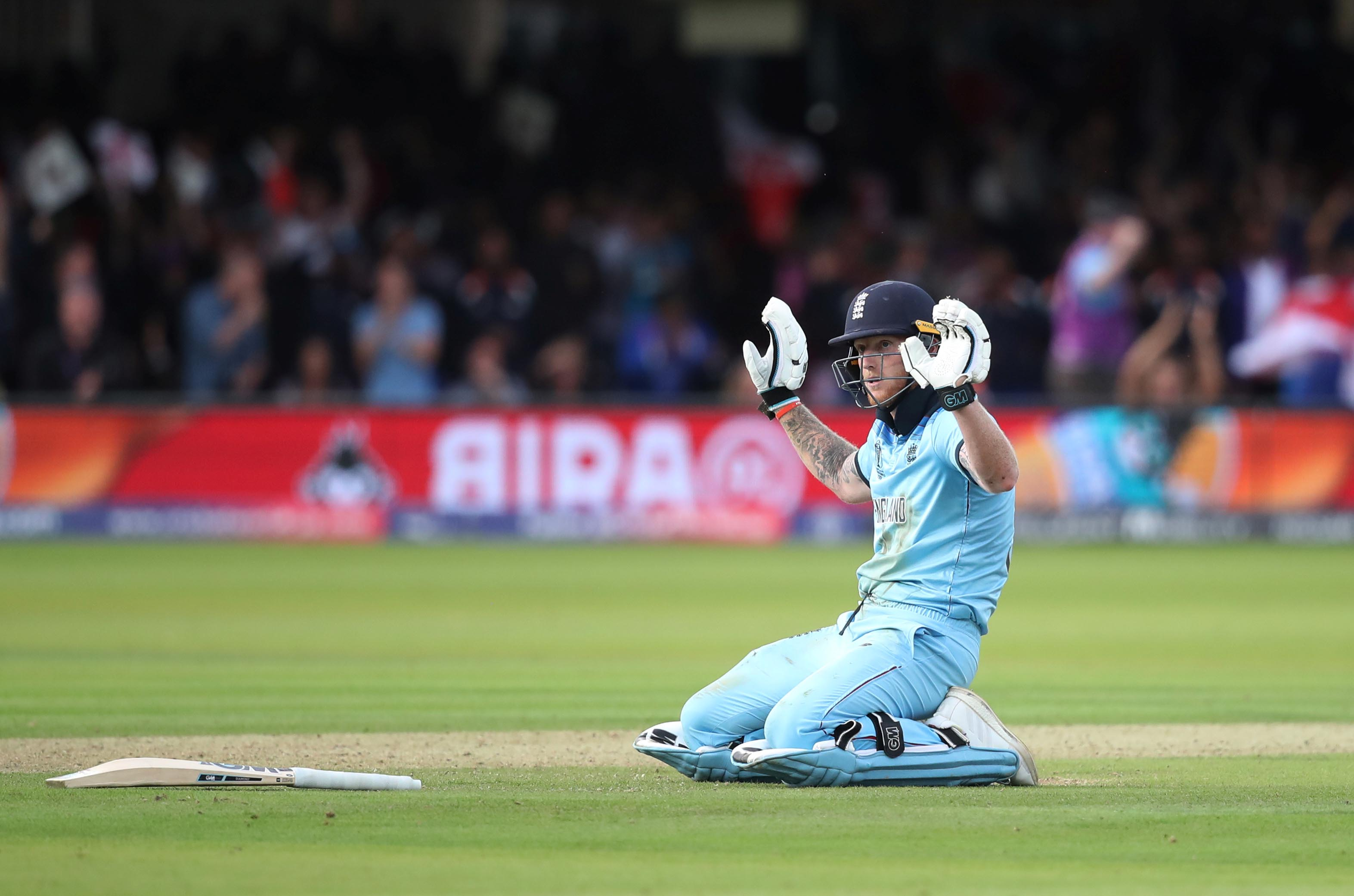 Cricket - ICC Cricket World Cup Final - New Zealand v England - Lord's, London, Britain - July 14, 2019 England's Ben Stokes reacts after a six Action Images via Reuters/Peter Cziborra