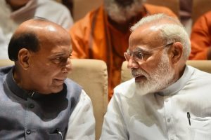 New Delhi: Prime Minister Narendra Modi and Defence Minister Rajnath Singh during the BJP parliamentary party meeting, in New Delhi, Tuesday, July 9, 2019. (PTI Photo/Arun Sharma)(PTI7_9_2019_000001B)