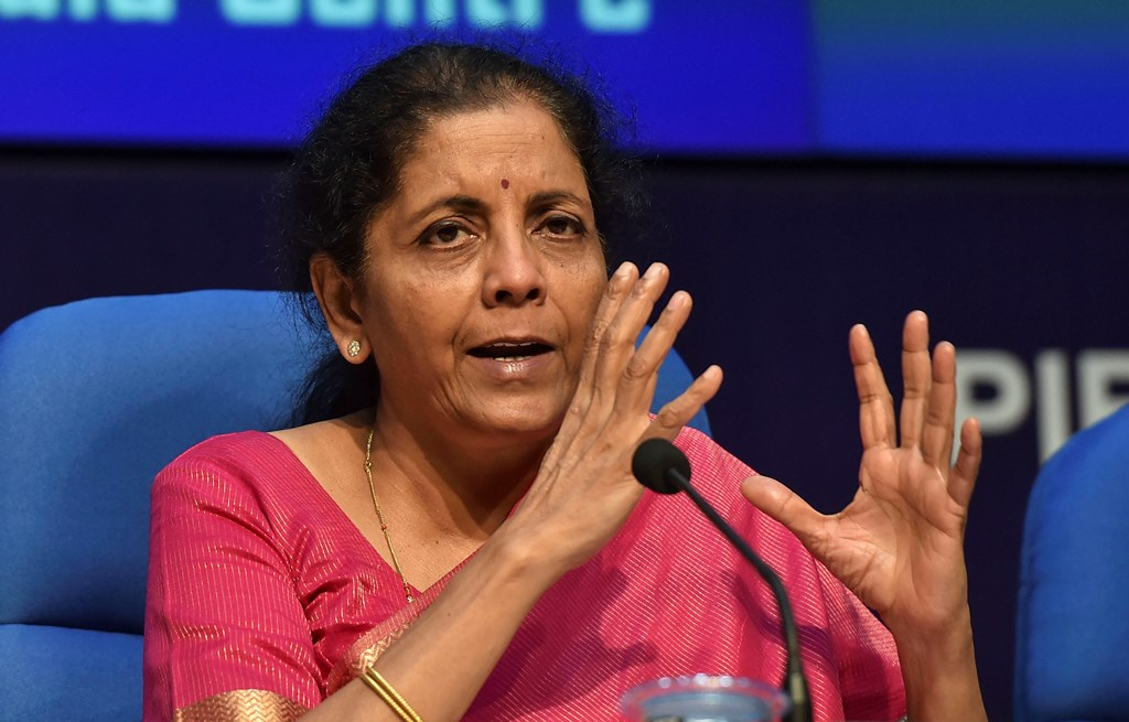 New Delhi: Finance Minister Nirmala Sitharaman addresses a press conference after presenting the Union Budget 2019-20, in New Delhi, Friday, July 5, 2019. (PTI Photo/Manvender Vashist) (PTI7_5_2019_000138B)