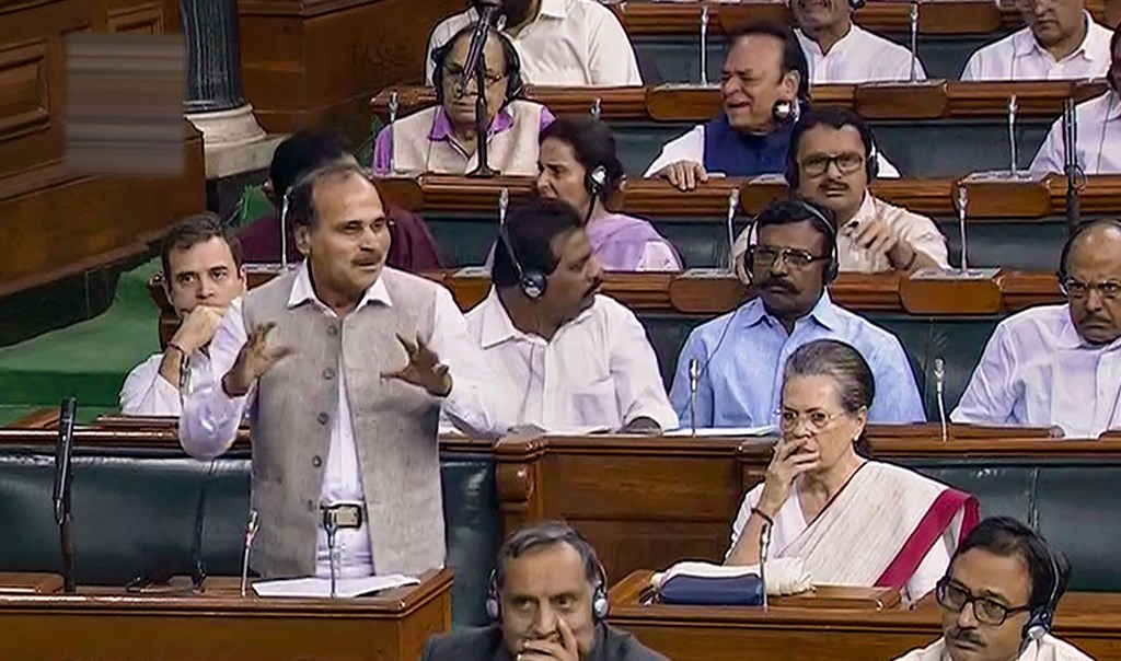 New Delhi: Congress MP Adhir Ranjan Chowdhury speaks in the Lok Sabha during the ongoing Budget Session of Parliament, in New Delhi, Tuesday, Aug 6, 2019. (LSTV/PTI Photo) (PTI8_6_2019_000020B)