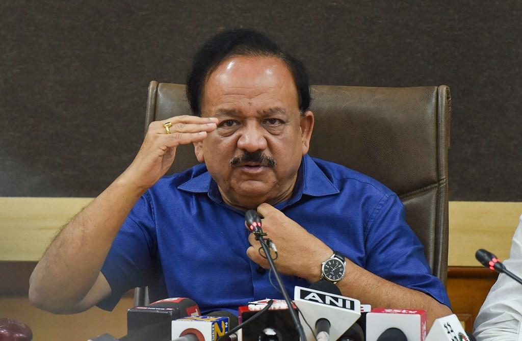 New Delhi: Union Health Minister Harsh Vardhan addresses a press conference in relation to NMC Bill 2019, in New Delhi, Thursday, Aug 8, 2019. (PTI Photo/Manvender Vashist) (PTI8_8_2019_000094B)
