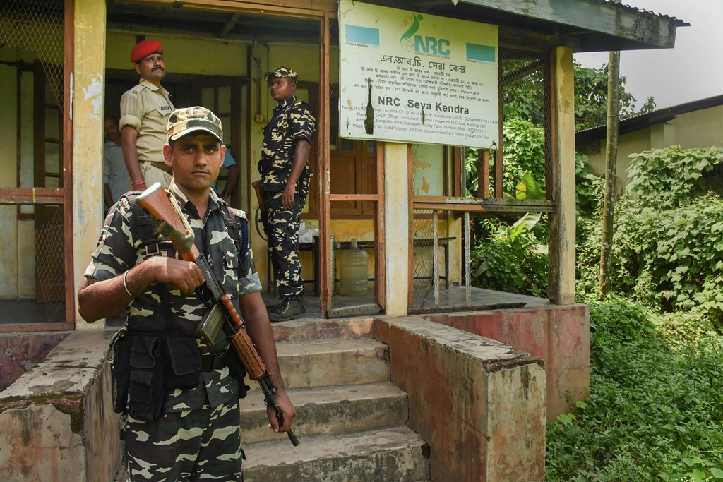 Guwahati: Security personnel keep vigil outside the office of the State Coordinator of National Register of Citizens (NRC), in Guwahati, Friday, August , 2019. The NRC with the final list of citizens will be published tomorrow on August 31, 2019. Chief Minister of Assam Sarbananda Sonowal has asked people not to panic, and has directed all Government agencies of Assam to cooperate with people. (PTI Photo)(PTI8_30_2019_000054B)