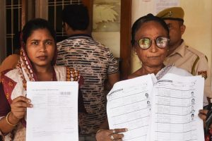 Guwahati: People show their documents after arriving at a National Register of Citizens (NRC) Seva Kendra to check their names on the final draft, in Guwahati, Saturday, Aug 31, 2019. (PTI Photo) (PTI8_31_2019_000080B)