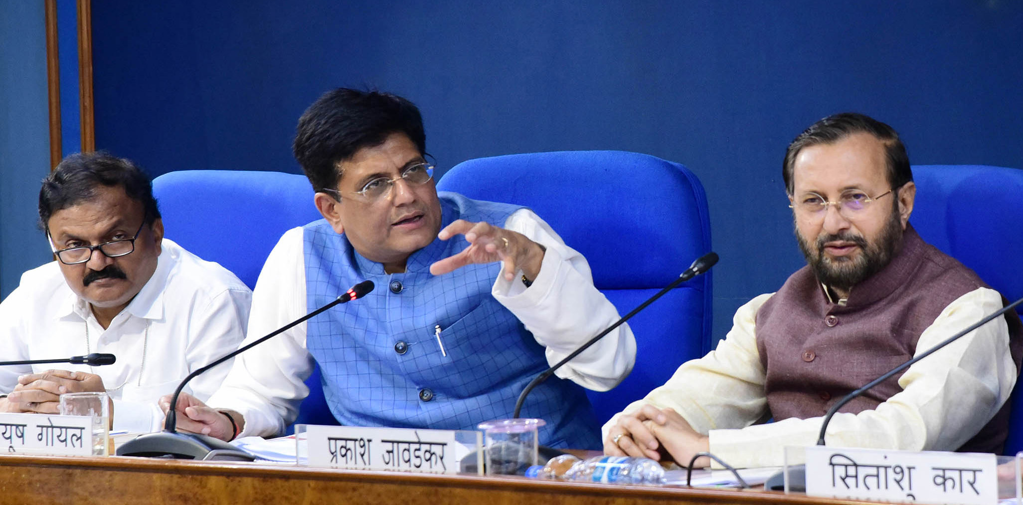 The Union Minister for Environment, Forest & Climate Change and Information & Broadcasting, Shri Prakash Javadekar and the Union Minister for Railways and Commerce & Industry, Shri Piyush Goyal briefing the media on Cabinet Decisions, in New Delhi on August 28, 2019.