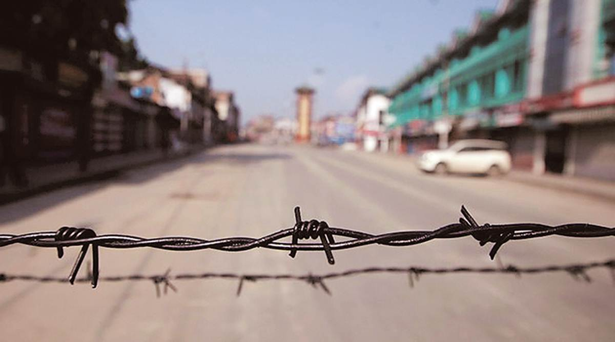 A deserted road in Srinagar on Monday. Restrictions were in force across Kashmir and in several parts of Jammu. (REUTERS/Danish Ismail)