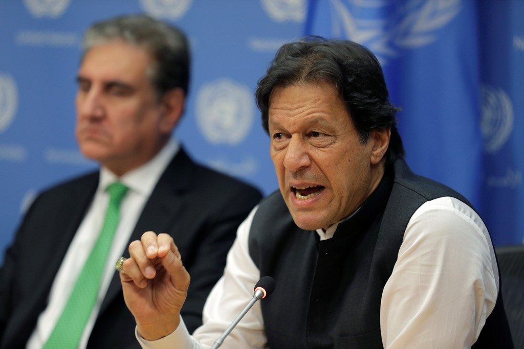 UNITED NATION : Imran Khan, Prime Minister of Pakistan, speaks to reporters during a news conference at United Nations headquarters Tuesday, Sept. 24, 2019. AP/PTI(AP9_25_2019_000010B)