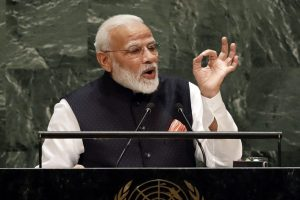 New York: India's Prime Minister Narendra Modi addresses the 74th session of the United Nations General Assembly, Friday, Sept. 27, 2019. AP/PTI(AP9_27_2019_000252B)