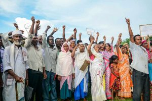Baska: Villagers of Gorbheter and Bherveri, whose names are missing in the final list of National Register of Citizenship (NRC), stage a protest over non-inclusion of their names, at Gorbeter in Baska district of Assam, Monday, September 2, 2019. (PTI Photo) (PTI9_2_2019_000101B)