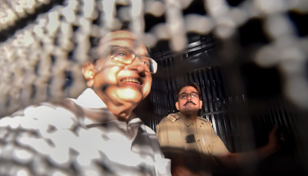 New Delhi: Congress leader and former finance minister P Chidambaram being taken to Tihar jail  in connection with the INX Media corruption case, in New Delhi, Thursday, Sept 5, 2019. A Delhi court on Thursday sent Chidambaram to jail, where he will spend 14 days in judicial custody. (PTI Photo/Ravi Choudhary)(PTI9_5_2019_000160B)