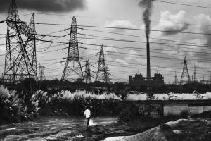 Smoke rises from a steel factory in Raghunathpur. Jharkhand. Photo The Wire