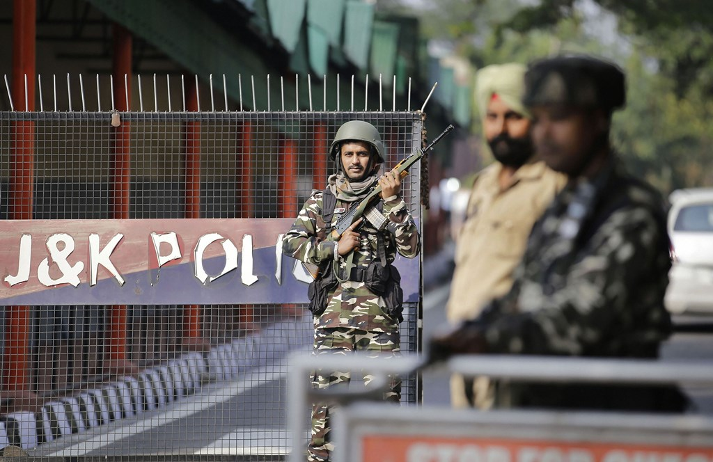 Jammu: Security personnel stand guard near Civil Secretariat ahead of presidential decree giving assent to the bifurcation of Jammu and Kashmir into two Union Territories, in Jammu, Wednesday, Oct. 30, 2019. (PTI Photo)(PTI10_30_2019_000087B)