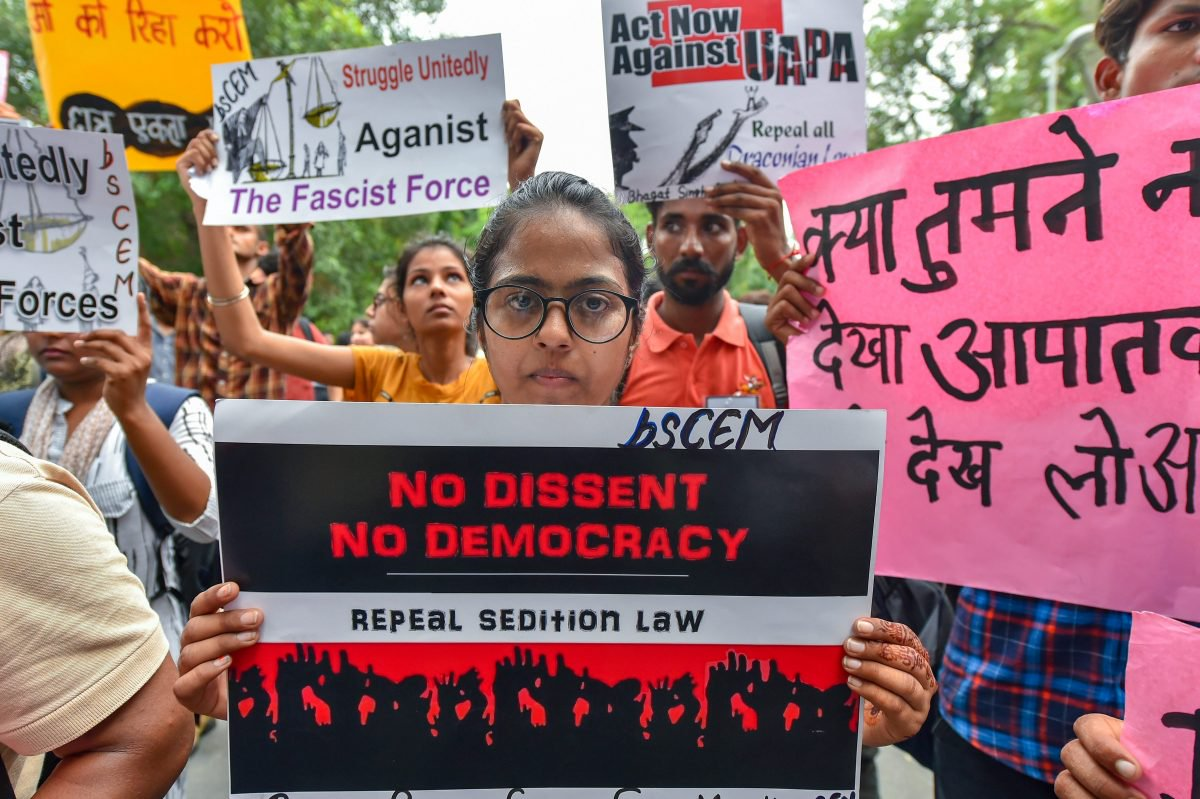 Activists display placards during a protest against the arrests of activists in New Delhi | Kamal Kishore/PTI