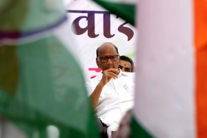 Nagpur: NCP chief Sharad Pawar during a campaign in support of Congress-NCP candidate Vijay Ghormade (unseen) ahead of Maharashtra Assembly polls at Butibori near Nagpur of Maharashtra, Thursday, Oct. 10, 2019. (PTI Photo)(PTI10_10_2019_000272B)