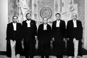 New Delhi: A group photo of the five-judge bench comprised of Chief Justice of India Ranjan Gogoi (C) flanked by (L-R) Justice Ashok Bhushan, Justice Sharad Arvind Bobde, Justice Dhananjaya Y Chandrachud, Justice S Abdul Nazeer after delivering the verdict on Ayodhya land case, at Supreme Court in New Delhi, Saturday, Nov. 9, 2019. (PTI Photo) (PTI11_9_2019_000298B)