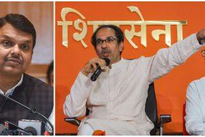 भाजपा नेता देवेंद्र फड़णवीस और शिवसेना प्रमुख उद्धव ठाकरे और आदित्य ठाकरे. (फोटो: पीटीआई)