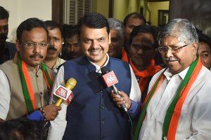 Mumbai: Maharashtra Chief Minister Devendra Fadnavis with  BJP Maharashtra President Chandrakant Patil arrives for the BJP MLA meeting at Vasant Sruti at Dadar in Mumbai, Sunday, Nov. 24, 2019. (PTI Photo/Mitesh Bhuvad)(PTI11_24_2019_000105B)