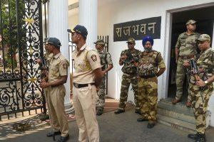 Mumbai: Central Industrial Security Force (CISF) personnel deployed outside Raj Bhavan, in Mumbai, Monday, Nov. 25, 2019. (PTI Photo/Mitesh Bhuvad) (PTI11_25_2019_000053B)