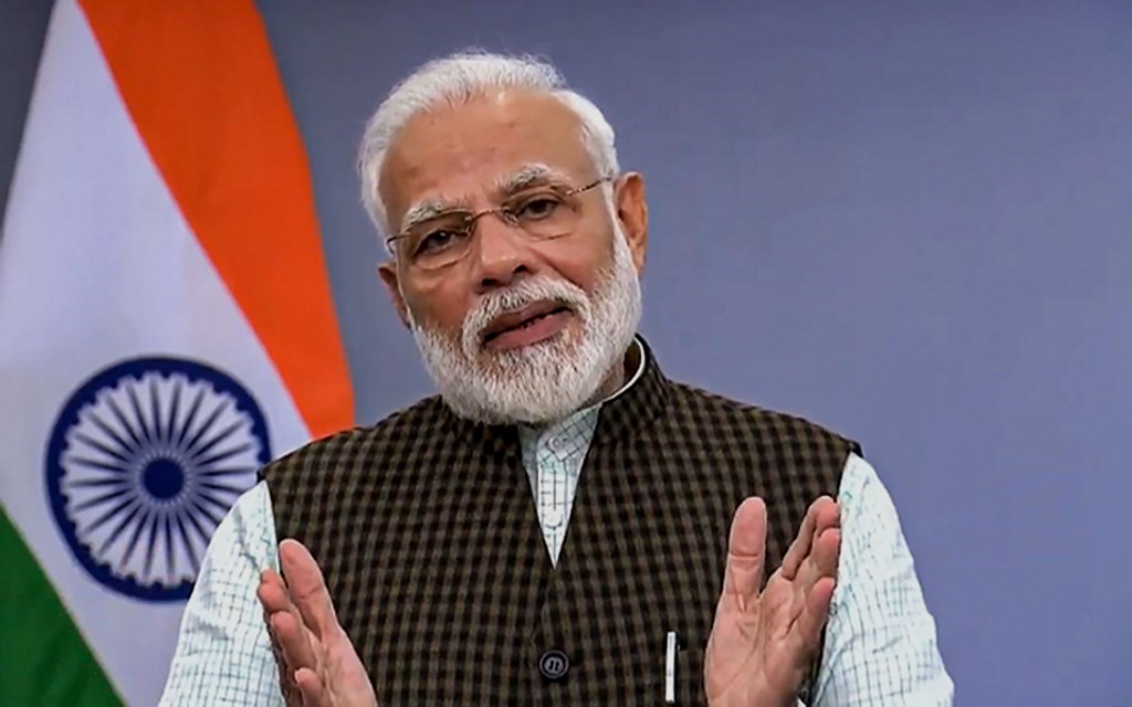 New Delhi: Prime Minister Narendra Modi addresses the nation after the Supreme Court earlier in the day delivered the Ayodhya verdict, in New Delhi, Saturday, Nov. 9, 2019. (Twitter/PTI Photo) (PTI11_9_2019_000293B)