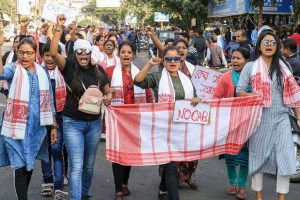 Jorhat: People take part in a protest rally protest against Citizenship Amendment Bill, 2019, in Jorhat, Assam, Friday, Dec. 13, 2019. (PTI Photo)  (PTI12_13_2019_000225B)