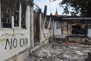 Dibrugarh: The charred post-office at Chabua that was allegedly vandalised during an Anti-Citizenship Amendment Act protest, in Dibrugarh district of Assam, Tuesday, Dec. 17, 2019. (PTI Photo)   (PTI12_17_2019_000077B)