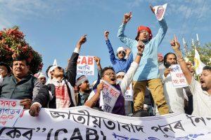 Guwahati: Activists from the Veer Lachit Sena, Assam   shout slogans as they protest against   Citizenship Amendment Bill, in Guwahati, Saturday, Dec. 7, 2019. (PTI Photo) (PTI12_7_2019_000081B)