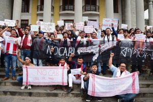Bengaluru: Assamese students slogans during a protest against the Citizenship Amendment Bill (CAB) in Bengaluru, Saturday, Dec. 14, 2019. (PTI Photo/Shailendra Bhojak) (PTI12_14_2019_000037B)